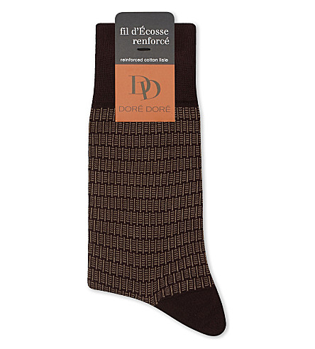 DORE DORE Block dash cotton socks (Burg+beige