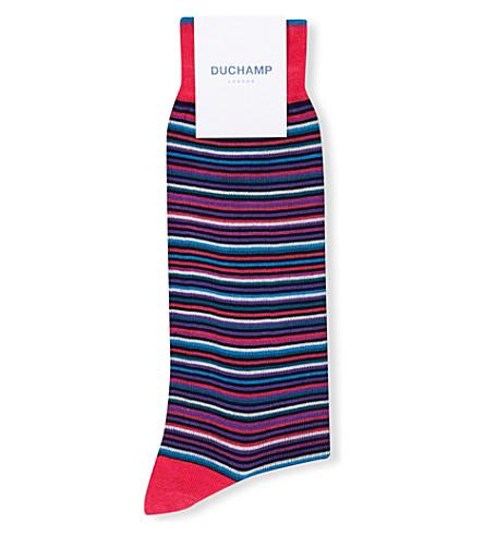 DUCHAMP Stripe-print cotton-blend socks (Pink+prpl