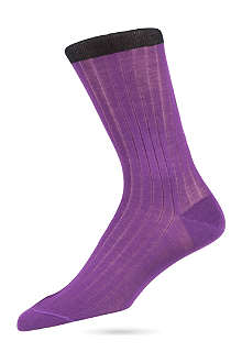 DUCHAMP Plain cotton ribbed socks