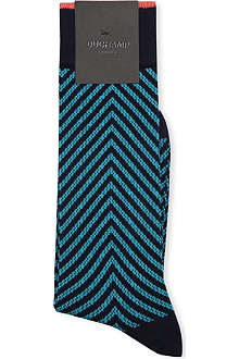 DUCHAMP Zig-zag stretch-cotton socks