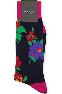 DUCHAMP Floral mid-calf socks