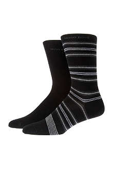 HUGO BOSS Pack of two plain and striped socks