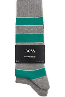 HUGO BOSS Striped and plain socks pack of two