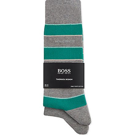 HUGO BOSS Striped and plain socks pack of two (Grey