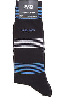 HUGO BOSS Striped combed-cotton socks
