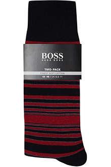 HUGO BOSS Pack of two striped & plain socks