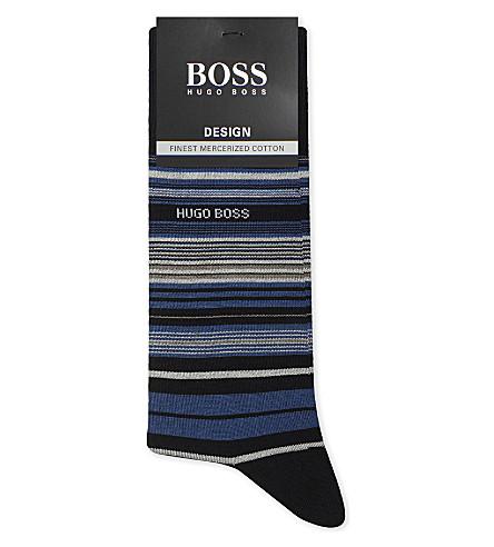 BOSS Barcode stripe fill D'Ecosse cotton socks (Blue