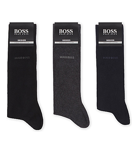 BOSS Pack of three socks set (Blk+navy+gry