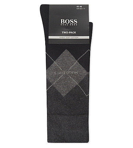 BOSS Argyle and solid cotton-blend socks 2-pack (Blk+chrc