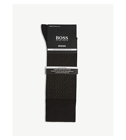 BOSS Design fil d'Ecosse cotton socks (Black+grey