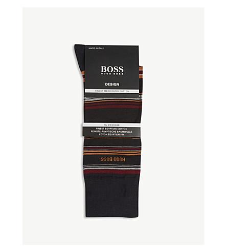 BOSS Design multi-stripe cotton-blend socks (Black+red