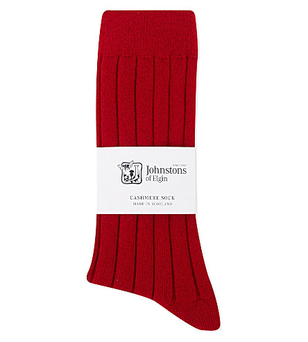 JOHNSTONS Ribbed cashmere blend socks (Chianti+red