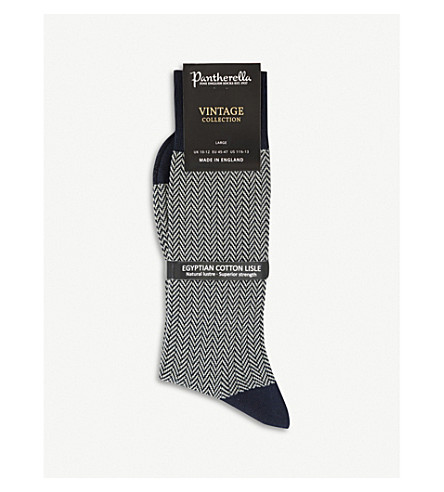 PANTHERELLA Herringbone cotton-blend socks (Navy