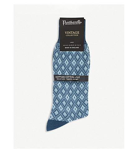 PANTHERELLA Diamond-patterned socks (Blue
