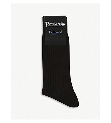 PANTHERELLA Short ribbed cotton socks (Chocolate