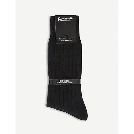 PANTHERELLA Ribbed cashmere-blend socks (Black