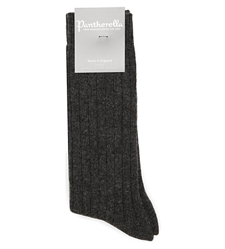 PANTHERELLA Ribbed cashmere-blend socks (Charcoal