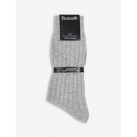 PANTHERELLA Ribbed cashmere-blend socks (Grey