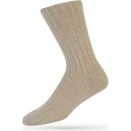 PANTHERELLA Ribbed cashmere-blend socks (Natural