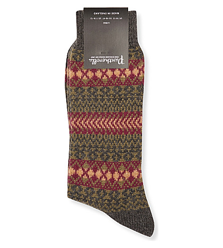 PANTHERELLA Mapperton fair isle cashmere-blend socks (Charcoal