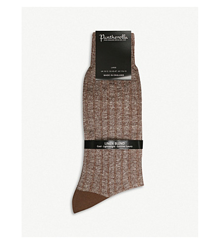 PANTHERELLA Hamada ribbed linen-blend socks (Cocoa