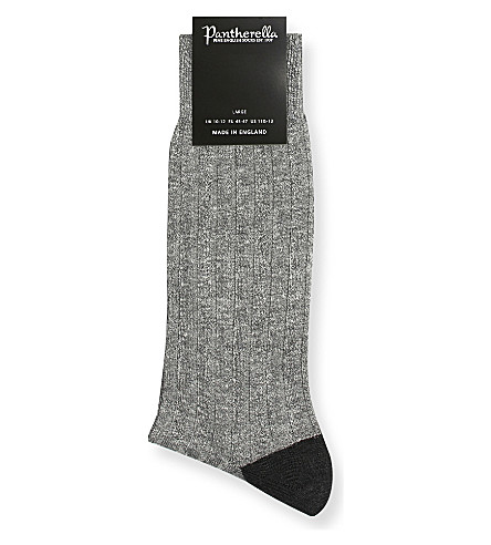 PANTHERELLA Hamada ribbed linen-blend socks (Grey
