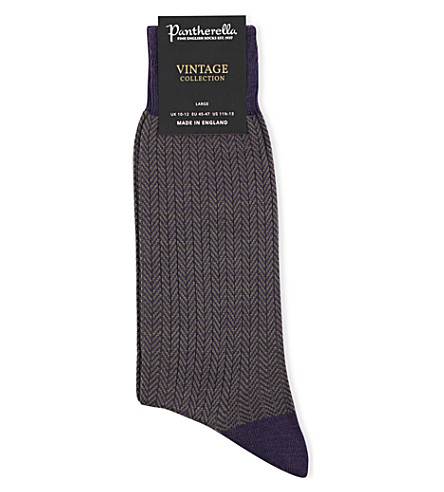 PANTHERELLA Finsbury patterned wool-blend socks (Blackberry