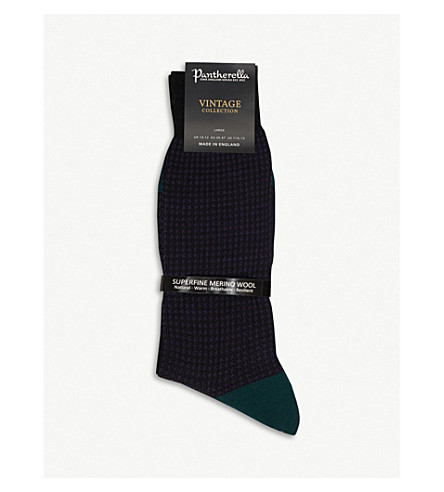 PANTHERELLA Houndstooth wool-blend socks (Black