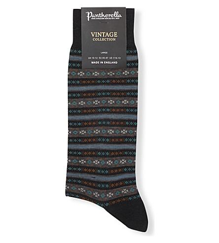 PANTHERELLA Fulwell fair isle stripe wool-blend socks (Black