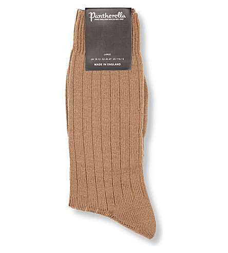 PANTHERELLA Packington ribbed socks (Dk+camel