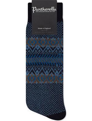 PANTHERELLA Fairisle knitted cashmere socks