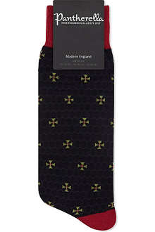 PANTHERELLA Chainmail cross print wool socks