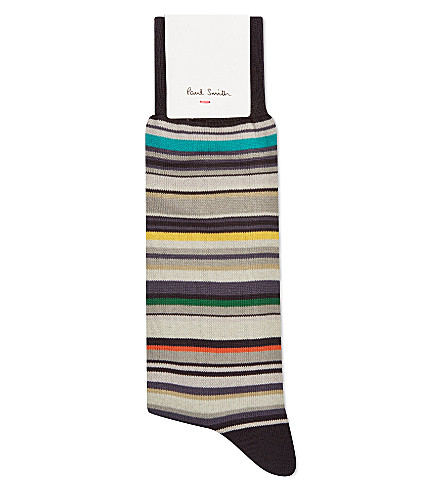PAUL SMITH Barcode striped socks (Charcoal