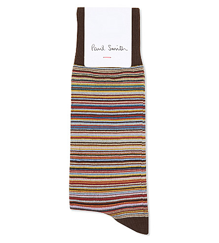 PAUL SMITH Multi-striped socks (Chocolate