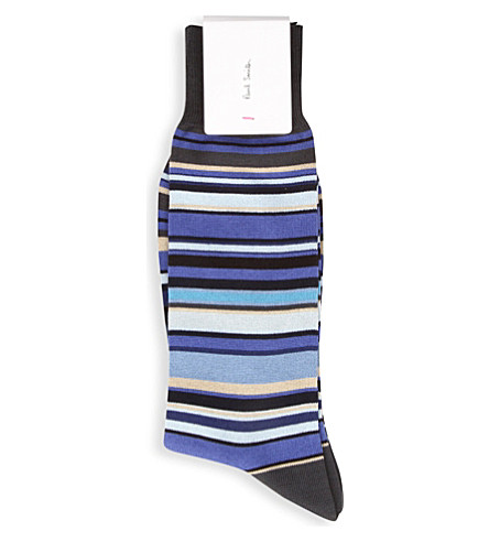 PAUL SMITH Multi-striped cotton-mix socks (Blue-1