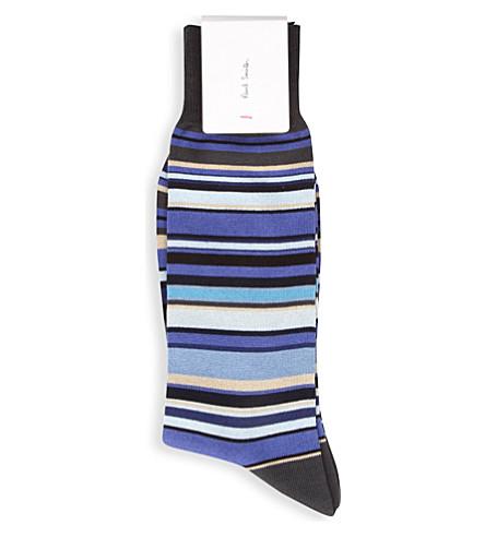 PAUL SMITH Multi-striped cotton-mix socks (Blue-1