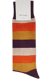 PAUL SMITH Block striped cotton mix socks