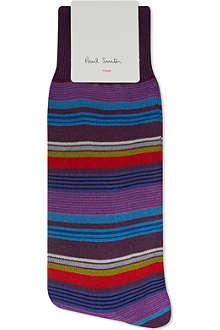 PAUL SMITH Purple rufus striped socks