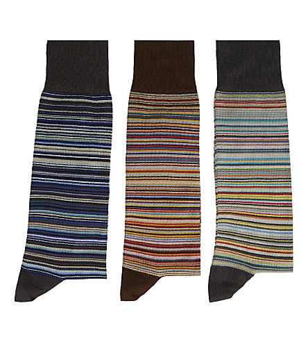 PAUL SMITH Pack of three classic striped socks (Multi