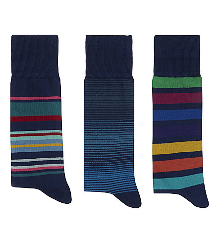 PAUL SMITH Striped cotton-blend socks pack of three (Blue+multi