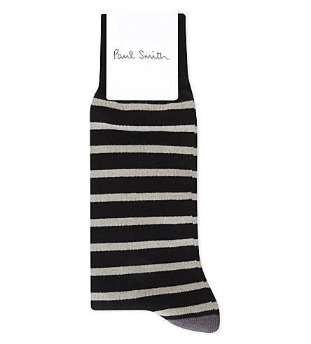 PAUL SMITH Ray striped cotton socks (Black