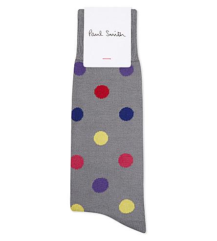 PAUL SMITH Teacup polka dot cotton socks (Grey