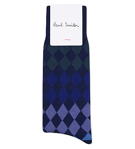 PAUL SMITH Harlequin cotton socks (Blue