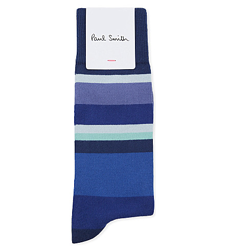 PAUL SMITH Multi-coloured block stripe cotton-blend socks (Blue