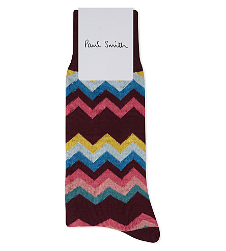 PAUL SMITH Zigzag cotton socks (Burgundy