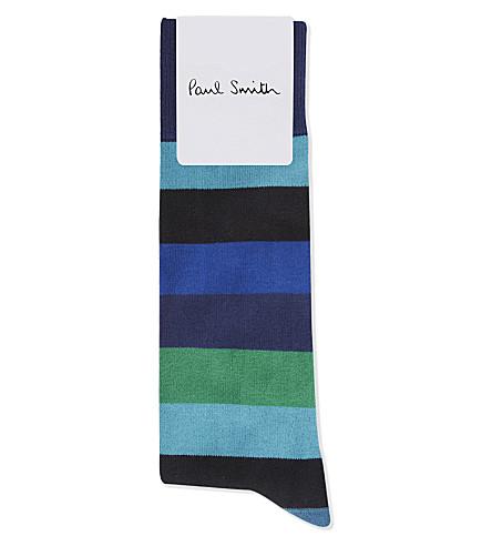 PAUL SMITH Block stripe cotton socks (Blues