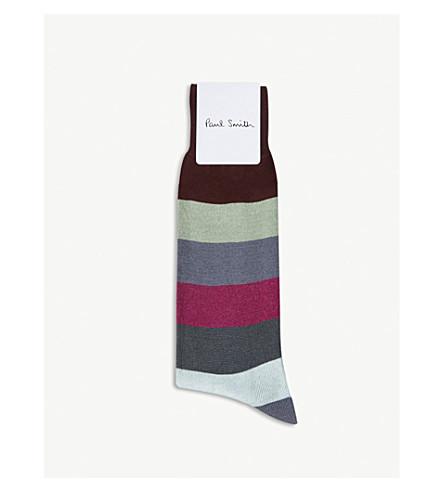 PAUL SMITH Striped cotton-blend socks (Brown+multi