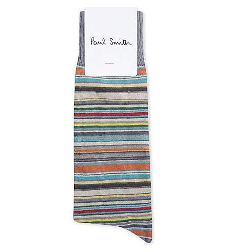 PAUL SMITH Multi-stripe cotton socks (Grey