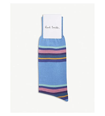 PAUL SMITH 块条纹棉混纺袜 (婴儿 + 蓝色)
