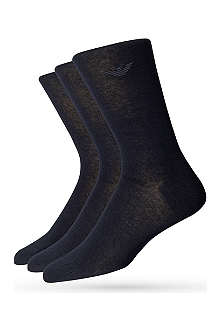 ARMANI Pack of three cotton-blend socks